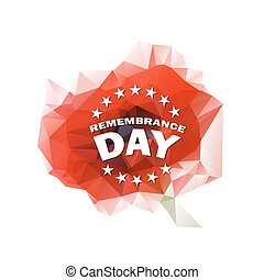 remembrance day vector - low polygonal red poppy symbol with...