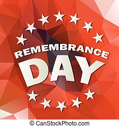 remembrance day vector - abstract low poly red background...