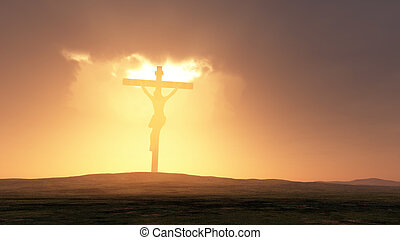Silhouette of Jesus with Cross