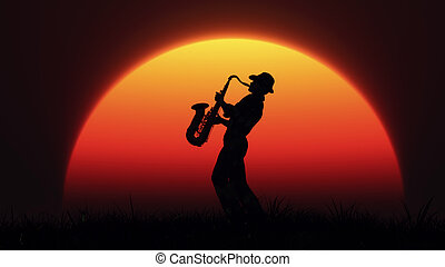 Man playing on saxophone against the background of sunset....
