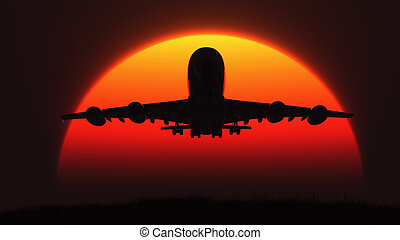 The silhouette of an airplane in flight at sunset. This is a...