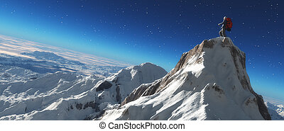 Climber on a snowy peak at sunset. This is a 3d render...