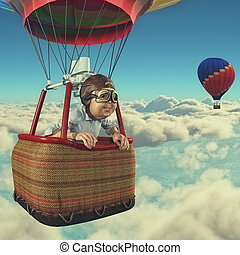 Man flies with hot air balloon - Man flies overclouds with...