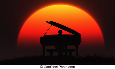 Silhouette of musician playing the piano on the sunset sky...