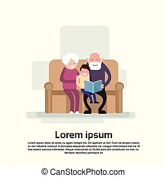 Grandfather And Grandmother Sit With Grandson Read Book Small Child