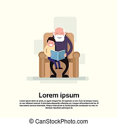 Grandfather Sit With Grandson In Armchair Read Book Small...