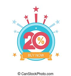 Twenty discount icon. Sales design template. Shopping and low price symbol