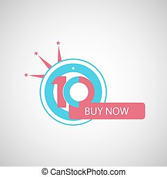 Ten symbol, years, anniversary logo, discount.