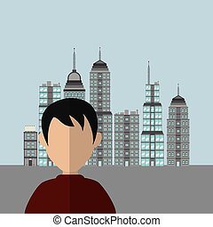 man with city background image