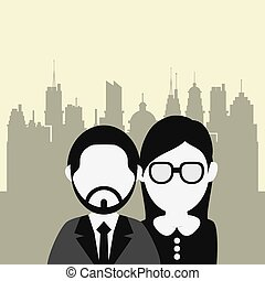 business people with city background image