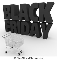 black friday shopping cart - big black letters and a...