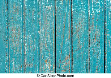 Peeling Cyan Paint Wooden Background
