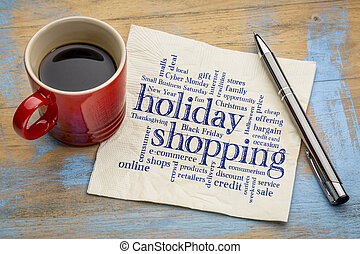 holiday shopping word cloud - handwriting on a napkin with a...