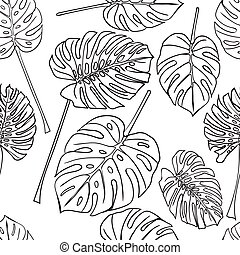 Seamless background with silhouette tropical monstera...