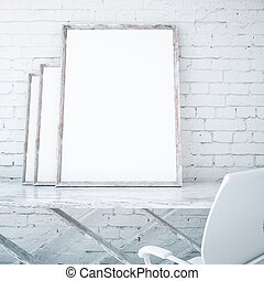 Blank picture frames on table - Three blank picture frames...
