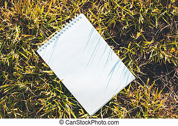 Blank notepad on grass topview - Top view of blank spiral...