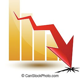 chart and arrow on a white background in regress - large...