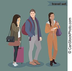 Traveler icon set. Man and women with luggage, smart phone, tickets. People in airport, train, bus, ship journey. Couple in love travel. African american, japanese girl.