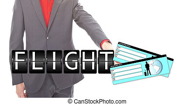 Young businessman with airplane tickets isolated on white background