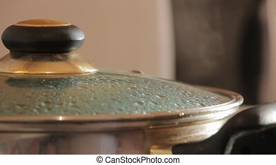 Glass lid the pot boiling. Steam escapes from the pot...