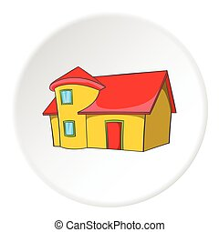 Residential house with roof icon, cartoon style
