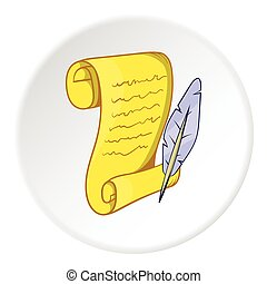 Scroll paper and feather icon, cartoon style