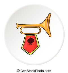 Trumpet with flag icon, cartoon style - Trumpet with flag...