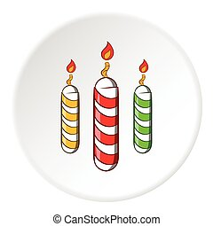 Festive candles icon, cartoon style - Festive candles icon...