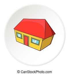 Large residential house icon, cartoon style