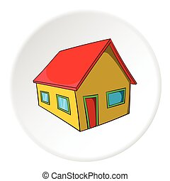 Residential house icon, cartoon style