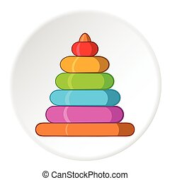 Childrens pyramid icon, cartoon style - Childrens pyramid...