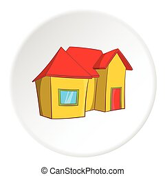 One storey residential house icon, cartoon style