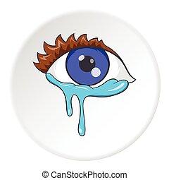 Crying eyes icon, cartoon style