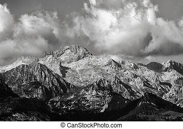 Triglav mountain peak in Slovenia, black and white - Triglav...