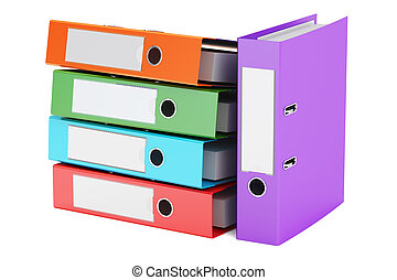 heap of colored ring binders, 3D rendering isolated on white...