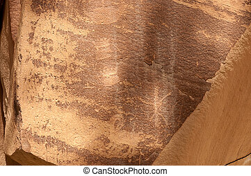 Petroglyph in Fremont, Utah - Petroglyph of Native Americans...