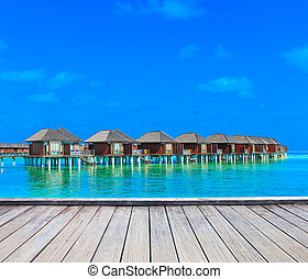 beach with water bungalows Maldives - beach with water...