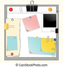 Paper banners and pins - Set of torn paper banners and...