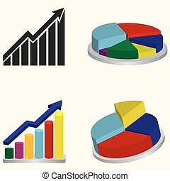 Chart or graph sign - Set of chart or graph signs,...
