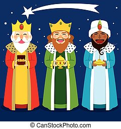 Three Wise Men - Three wise men bring presents to Jesus in...