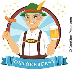 Oktoberfest Beer Man - Senior Bavarian man holding beer mug...