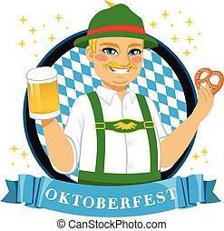 Oktoberfest Pretzel Beer Man - Illustration of funny senior...