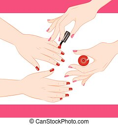 Manicure Service - Two female hands getting manicure service...