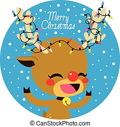 Merry Christmas Lights Deer - Cute little happy deer with...