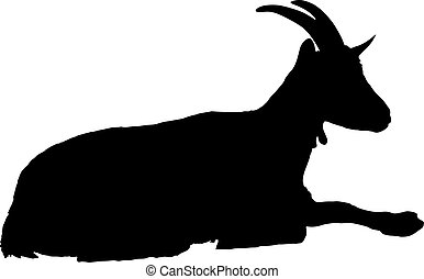 Goat silhouette - Rural farm animals on a white background