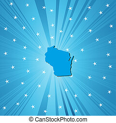 Blue map of Wisconsin - Blue Wisconsin map, abstract...