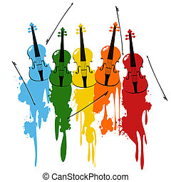 Violins background - Color vionlins and bows with paint...