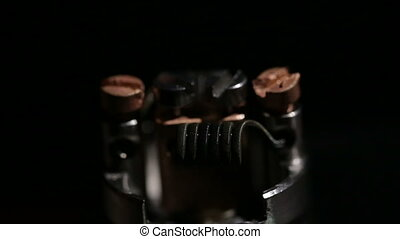 Preheat spiral of clapton coil mounted in the electronic...