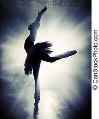 impression - Art concept. Silhouette of a dancing ballerina.