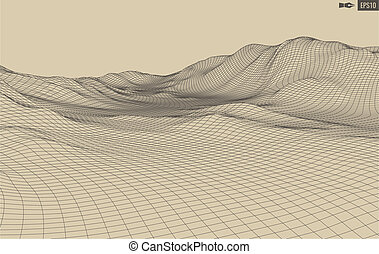 3D Wireframe Terrain Wide Angle digital illustration